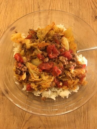 Unstuffed Cabbage Over Rice